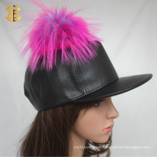 Custom Black Leather Snapback Hat with Colorful Raccoon Fur Ball
