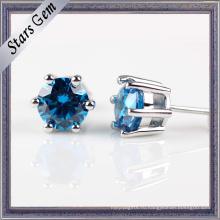 Моды 3.0 мм блестящий синий серьги ювелирные изделия в stering серебра