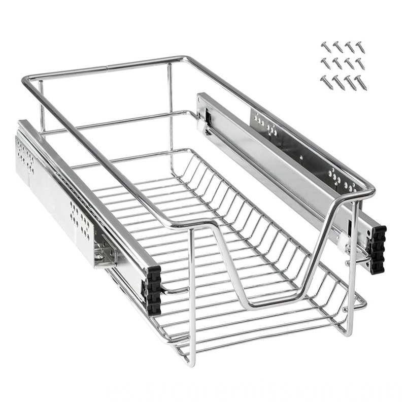 Steel Kitchen Dish Storage Shelf Cupboard Telescopic Drawer