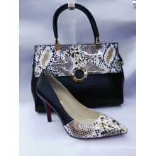 Fashion Snake Pattern High Heel Shoes and Bags (G-18)