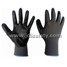 Grey Nylon Knitted Working Gloves with Black Smooth Nitrile Coating (N1551B)
