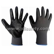 Nylon cinza de malha luvas com nitrilo liso preto, revestimento (N1551B) de trabalho