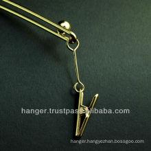 Japanese Metallic Golden Lingerie Hanger with Clips for Elegant Evening Dress