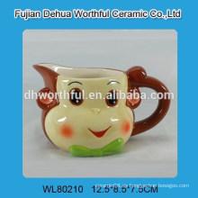Jarro de crema de cerámica elegante al por mayor con diseño del mono