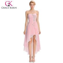 Grace Karin 2016 New Design Strapless High Low Cheap Sequins Chiffon Pink Prom Dress GK000042-2