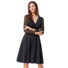 Kate Kasin Sexy Women Vintage Retro Long Sheer Black Lace Sleeve V-Neck Aline Dress KK000485-1