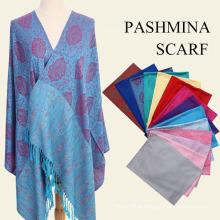 2017 Autumn winter jacquard pashmina shawl large warm rayon scarves turkish pashmina shawl with tassel