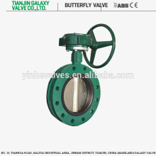 Válvula de borboleta tipo U em aço inoxidável com flange