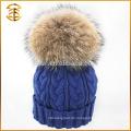 2017 Großhandel bunte Wolle Pelz gestrickte Winter Beanie Hut