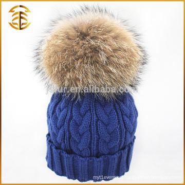 Wholesale Genuine Raccoon Knitted Fur Knit Pom Beanie Winter Hat