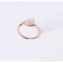 a Simple Style Jewelry Ring with Cat Eye Stone in Rose Gold Plated