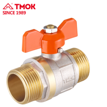 Good quality butterfly stem brass nickle plated ball valves