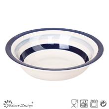 Placa de sopa de cerámica Blue Circle