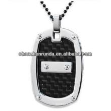 Pendentif en acier inoxydable avec pendentif en fibre de carbone noir pour homme Fabrication et fournisseur