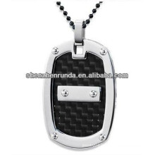 Stainless Steel Pendant with Black Carbon Fiber Pendant for men Manufacture & Supplier