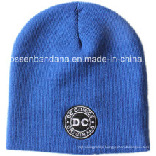 OEM Produce Customized Logo Embroidered Knitted Beanie Acrylic Winter Ski Daily Beanie Blue Hat