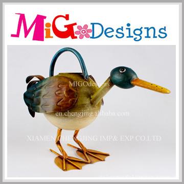Artisanat de canard en métal coloré pour décor extérieur