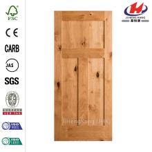 24 in. x 80 in. Krosswood Craftsman 3-Panel Shaker Solid Wood Core Rustic Knotty Alder Interior Door Slab