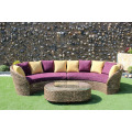 C shape Poly Rattan Wicker Living Room set Indoor Furniture (Acacia wood frame, hand woven by wicker hyacinth)