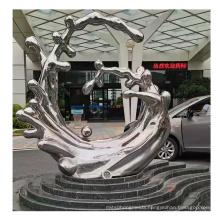 Modern Luxury Metal Silver Color Sculpture Decorative Metal Sculpture Art for Hotel Home Ornaments