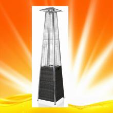 H1505 Chauffe-patio à pyramide en tube de verre à quartz avec base en osier