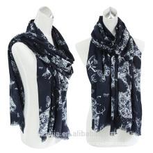 Fashion ladies cotton printed eyelash fringe long scarf