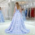 New Fashion Blue Flower Deep V Neck Ball Gown Dress Evening