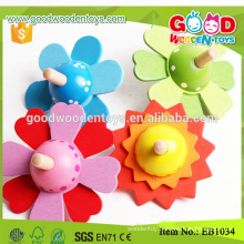 Milk Promotion Toys Flower Spinning Top Wooden Toy for kids
