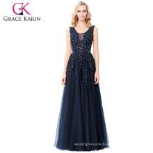 Grace Karin Elegant Deep V-Back Soft Tulle Netting Sleeveless Long Navy Blue Evening Dress 8 Size US 2~16 GK000130-1