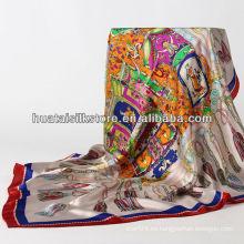 2014 nuevas señoras blancas de seda de la bufanda de la franja de hangzhou el 100%