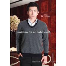 Camisola de cashmere de manga larga estilo V para homem