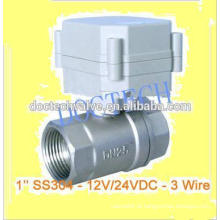 Válvula de esfera motorizada DC12/24V controle válvula elétrica de SS304 BSP/NPT rosca para filtro de água de válvula de controle de 2 vias de 3Wires 1 '
