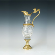 Estatua de jarrón de cristal Escultura de bronce de caballo Tpgp-024