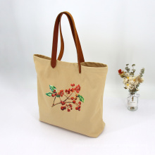 sturdy foldable canvas net customize beach tote bags cotton leather handle with custom design embroidery logo for women
