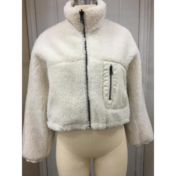 Off White Shearling Zip Up Jacke