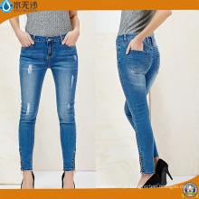 Calças de brim da fábrica por atacado Calças de brim da sarja de Nimes Skinny das mulheres do tecido de algodão da cintura alta