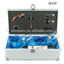 cajas de regalo de aluminio para copas de vino y botella alta calidad