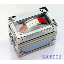 popular aluminum watch boxes for single watch with a clear acrylic top