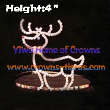 4inch Deer Shaped Rhinestone Christmas Crowns