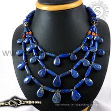 Glänzende multi Edelstein Silber Halskette Schmuck 925 Sterling Silber Schmuck indischen Silberschmuck