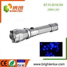 Fabrik-Logo gedruckt 1 * 18650 batteriebetriebene Handheld Aluminium 3w hohe Leistung wiederaufladbare uv LED-Taschenlampe