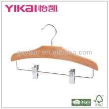 2013 new style children wooden clothes hanger with metal clips