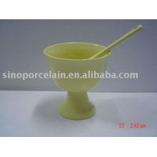Caneca clássica de gelado de porcelana com colher para BS09020