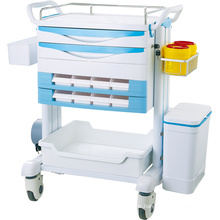 Top selling ABS medical trolley Mobile Hospital Patient ABS Wheels Nursing Treatment Emergency Trolley Working Cart