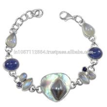 Lovely Blister Pearl Iolite Labradorite Rainbow Moonstone Gemstone & 925 Sterling Silver Bracelet