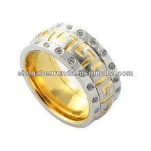 new arrival ring, high polished stainless steel ring with two loop crystal, crystal ring