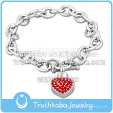Petit coeur avec bijoux en cristal de crémation se connecter avec un bracelet en acier inoxydable