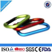 Customized Logo Printing Aluminum Safety D Type Snap Spring Carabiner Link Hook