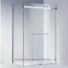 Frameless cabina de ducha deslizante con hardware de acero inoxidable para el mercado americano (kw021)