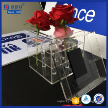 All-Round Display Clear Acrylic Square Flower Box with Lid